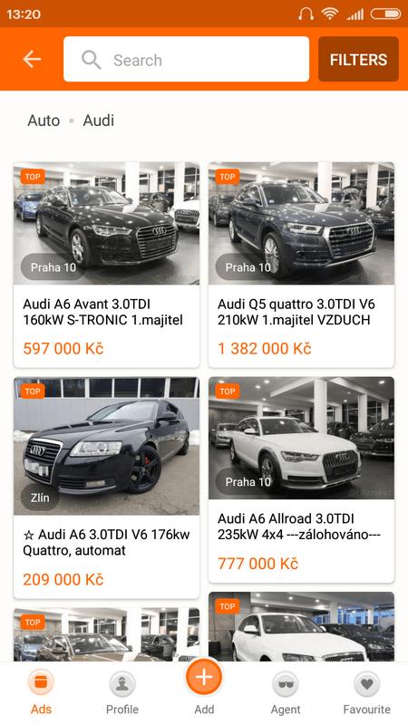 Приложение для покупки или продажи авто в Чехии - Bazos
